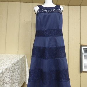 Trixxi Fit and Flare Dress, Size 16W, Navy